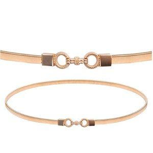 Skinny Gold Elastic Cinch Belt